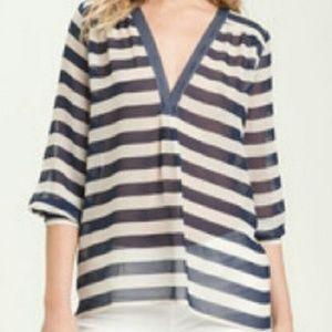 Joie 100% Silk Navy & Cream 3/4 Sleeve Blouse - M